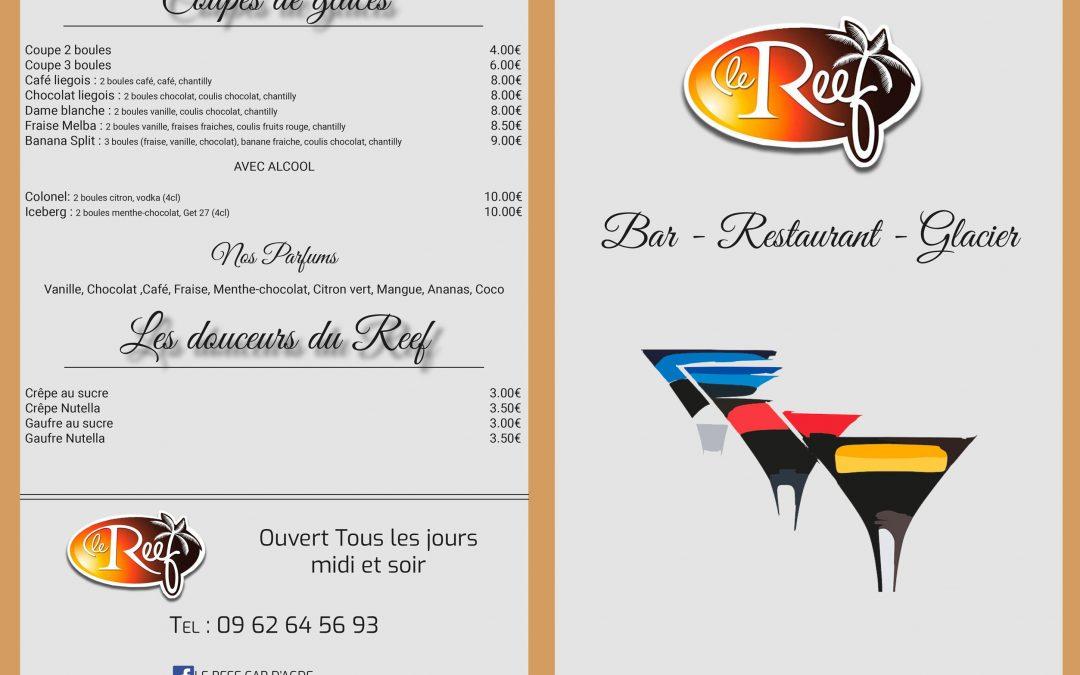 Carte bar du Restaurant «Le Reef»