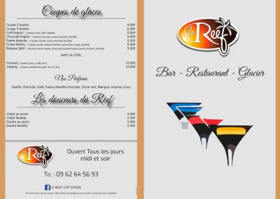 Carte bar du Restaurant « Le Reef »