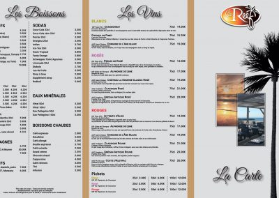 Carte menu du restaurant « Le Reef »
