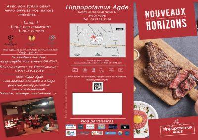 Flyer pour la vente à emporter Hippopotamus
