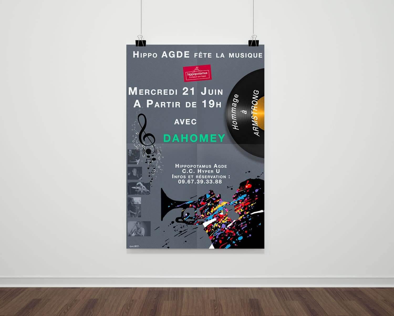 presentation affiche fete de la musique Hippopotamus Agde