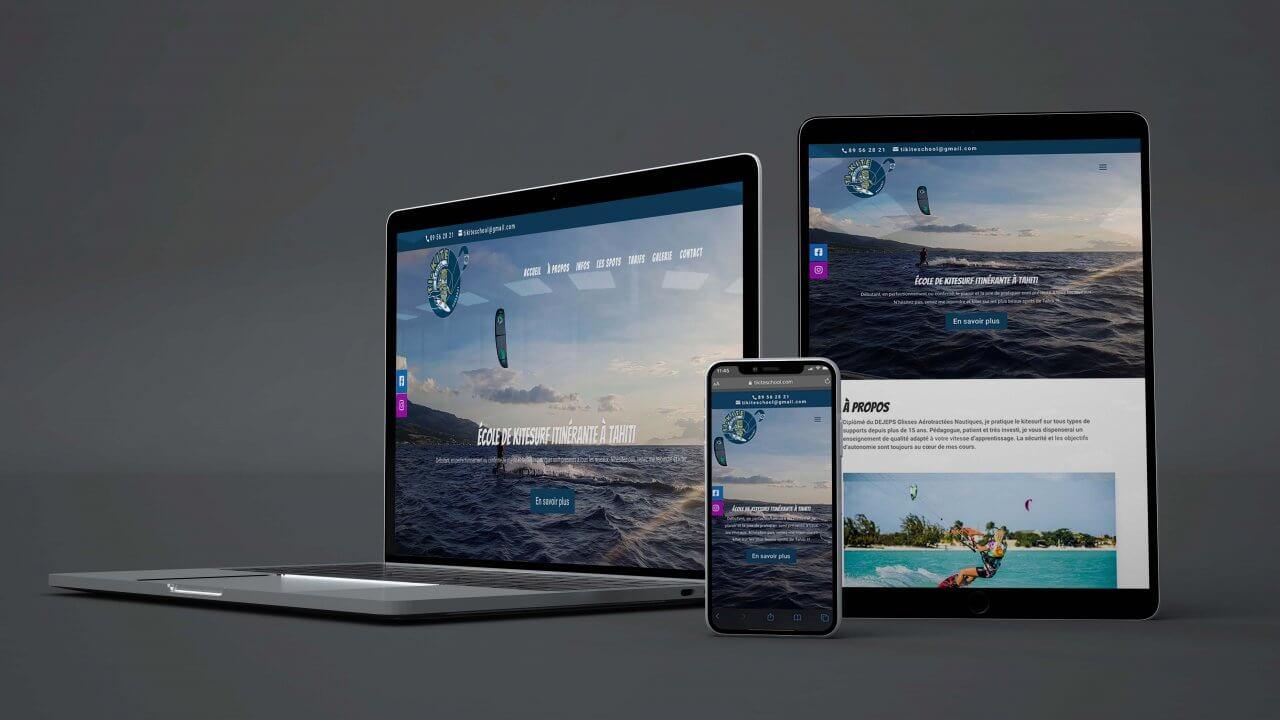 Conception de site web à Agde, présentation du site de ti-kite school